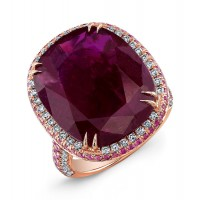Cushion Cut Ruby with Pink Sapphire Diamond Ring in 18K Rose Gold