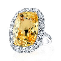CushionCut Yellow Sapphire and Diamond Ring in Platinum