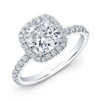 Radiant Cut Diamond Halo Engagement Ring in 18K White Gold