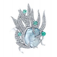 Blue Pearl Brooch with Diamond Leaves and Paraiba Tourmaline in 18K White Gold