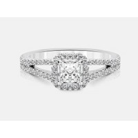 Princess-Cut Diamond Halo Engagement Ring in 18K White Gold