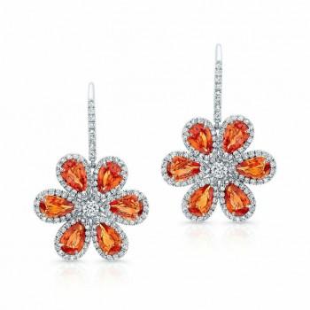 Orange and Sapphire Diamond Wild Flower Earrings in 18K White Gold