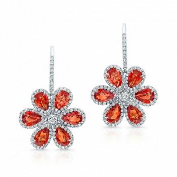 Blood Orange Sapphire and Diamond Wild Flower Earrings in 18K White Gold