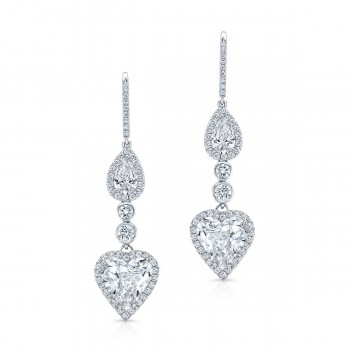 Detachable Heart Shaped Drop/Stud Diamond Earrings in Platinum