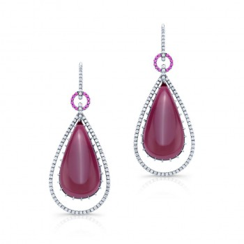 Rubellite Tourmaline Diamond and Ruby Earrings in 18K White Gold