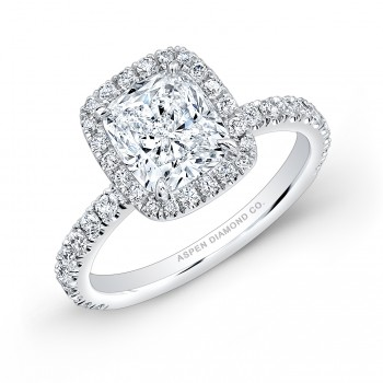 Cushion Cut Diamond Halo Engagement Ring in Platinum