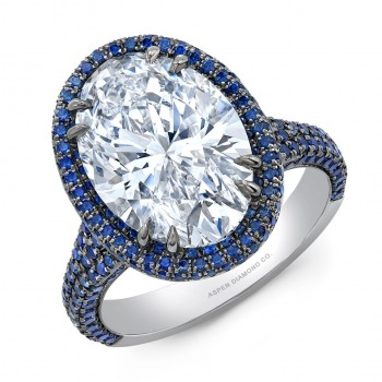 Oval Diamond Sapphire Halo Engagement Ring in Platinum