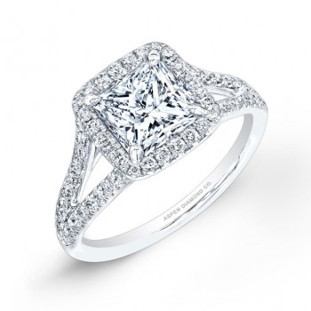 Princess Cut Pavé Diamond Engagement Ring in Platinum