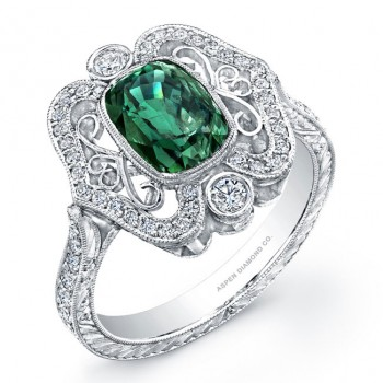 Vintage Style Diamond Ring with Cushion Cut Alexandrite in Platinum