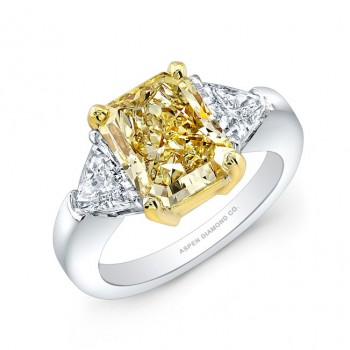 Radiant Cut Fancy Yellow Diamond Ring in Platinum