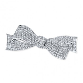 Diamond Ribbon Brooch in 18K White Gold
