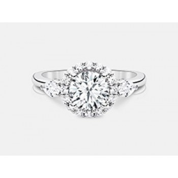 Round Brilliant Diamond Halo Engagement Ring in18K White Gold