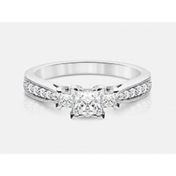 Princess-Cut Diamond Engagement Ring in 18K White Gold